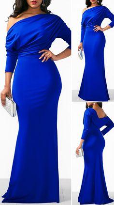 Blue Backless Draped Fringe Mermaid Dress - New Site Elegant Dresses Classy, Classy Dress, Simple Dresses, Pretty Dresses, Beautiful Dresses, Casual Dresses, Sexy Dresses, Formal Dresses, Wedding Dresses