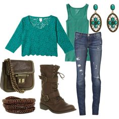 turquoise lace + brown