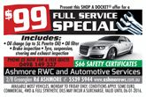 $99 Full Service Special from Ashmore RWC & Automotive Services
