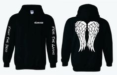 Fight The Dead Fear The Living - The Walking Dead Hoodie with Daryl Dixon Angel Wings
