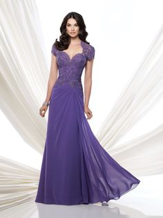 Chiffon A-line gown with lace Queen Anne neckline and short sleeves, hand-beaded lace bodice with asymmetrical waist and illusion and lace keyhole back, side draped skirt accented with lace, sweep train, suitable for the mother of the bride and the mother of the groom. Matching shawl included. As shown in Light Purple: Embellish by David [...]