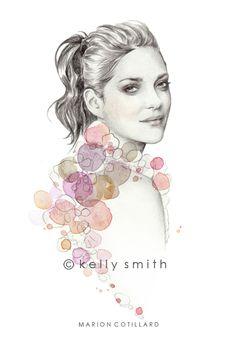 Illustration, kelly smith, and marion cotillard image Kelly Smith, Liz Clements, Beauty Illustration, Vogue Australia, Hand Art, Fashion Sketches, Fashion Illustrations, Art Techniques, Female Art
