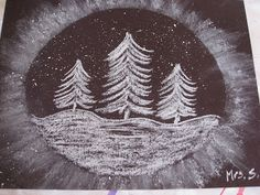 """""""Snowy Trees"""" Art Project Materials needed: black paper ( mine is oval template, white chalk, tissue, white paint (tempera or acr. Winter Art Projects, School Art Projects, Fun Projects, January Art, Snowy Trees, Winter Trees, 3rd Grade Art, Grade 2, Snow Art"""