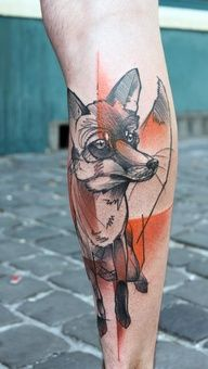 abstract fox tattoo