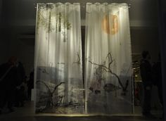 What an amazing idea!  3-D curtains by Eric Klarenbeek . . . the pictures are layered on multiple layers of the curtain fabric.
