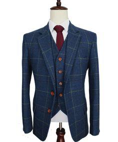 The Checkered Wool Blue Herringbone Gentleman's Suit