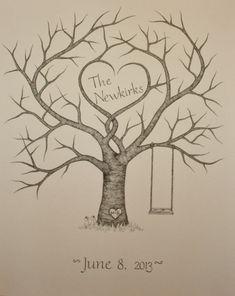 Original Hand Drawn Wedding Fingerprint Guest by WoodlandGrove