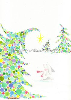 Limited Edition Original 8x10 or 9x12 Bunny in Snow with Polka Dot Trees Watercolor Painting - Holiday/Winter Edition - Snow Bunny