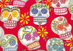 Sugar Skulls Fabric Fat Quarter Day of the Dead by straylover