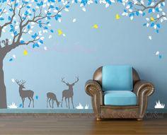 Foresta di natura Decal con Deers Decal-vivaio di DreamKidsDecal