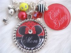 Personalized MOTHER Necklace Bottle cap Minnie Mouse Jewelry Pendant Red Necklace Mom Keychain,Children's Names Necklace, Nana, Wedding. $23.50, via Etsy.