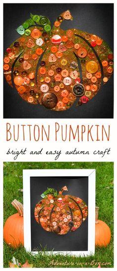 Button Pumpkin Craft: Bright and Easy Autumn Craft for Children Kids Crafts, Easy Fall Crafts, Fall Crafts For Kids, Thanksgiving Crafts, Fall Diy, Holiday Crafts, Pumpkin Crafts Kids, Button Crafts For Kids, Pumpkin Art