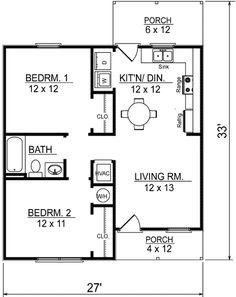 30x27 Super Cute Cottage Style House Plan 2 Beds 1 Baths 733 Sq
