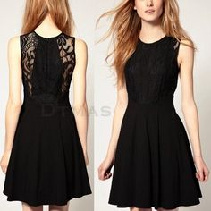 Sleeveless Black Lace Chiffon Pleated Cocktail Party Club Mini Dress S/M/L #Unbranded