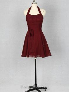 Vintage Burgundy Chiffon Sashes/Ribbons Short/Mini Halter Bridesmaid Dress…