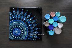 "10"" x 10"" original acrylic painted dot mandala with rhinestones on canvas | for sale on my Etsy shop. | blue dotted mandala https://www.etsy.com/ca/listing/580609756/10-x-10-original-blue-dot-mandala"