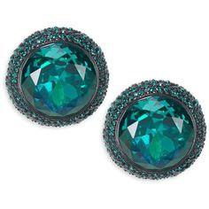 Kate Spade New York Pave-Trimmed Round Crystal Stud Earrings ($78) ❤ liked on Polyvore featuring jewelry, earrings, green, kate spade, green jewelry, green earrings, earring jewelry and round earrings