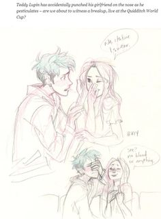 Teddy and Victoire. Teddy Lupin has accidentaly punched his girlfriend on the nose. by burdge so cuuuuuttttteeeeee Harry Potter Kunst, Harry Potter Drawings, Harry Potter Fan Art, Harry Potter Fandom, Burdge Bug, Teddy Lupin, Harry Potter Next Generation, Desenhos Harry Potter, Viria