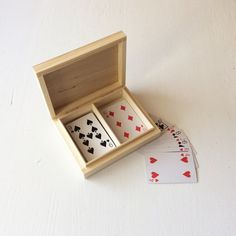 Wooden box for playing cards / 2 compartments box / by NeliStudio