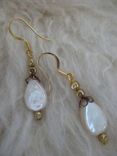 Teardrop Pearl and Gold Earrings by ElliTs on Etsy, $20.00