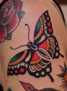 Traditional Back Tattoo, American Traditional Sleeve, Traditional Butterfly Tattoo, Traditional Tattoo Inspiration, Traditional Rose Tattoos, Traditional Tattoo Design, Native American Tattoos, Native Tattoos, Bug Tattoo
