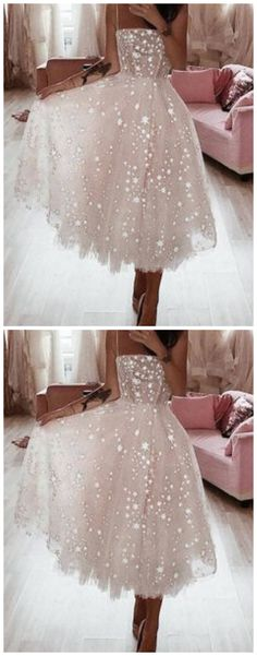 A Line Spaghetti Straps Tea Length Pearl Pink Prom Dress With Beading Classy Homecoming Dress, Classy Prom Dresses, Hoco Dresses, Sexy Dresses, Party Dresses, Evening Dresses, Fancy Gowns, Short Prom, Prom Party