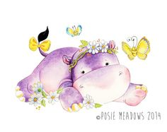 Hey, I found this really awesome Etsy listing at https://www.etsy.com/listing/214513361/flutterby-dreams-hippo-giclee-print