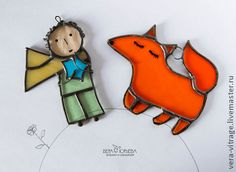 Little Prince and the fox. Stained glass. Handmade.