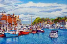 Weymouth Old Harbour In May Oil Painting on canvas By Roger Turner. Weymouth is a seaside town in Dorset, England, halfway along the Jurassic Coast Weymouth Bay, Weymouth Harbour, Weymouth Dorset, Seaside Art, Seaside Towns, Oil Painting On Canvas, Watercolor Paintings, Oil Paintings, Watercolour