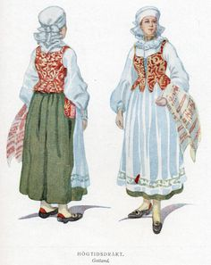 Gotland, Sweden. Women -- Clothing & dress -- Sweden. Folk costume, folk dress.