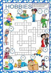 English worksheet: HOBBIES - CROSSWORD