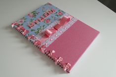 Love the little bows on the coil; so sweet Crafts For Kids, Arts And Crafts, Paper Crafts, Diy Crafts, Baby Girl Scrapbook, Notes Design, Album Book, Little Bow, General Crafts