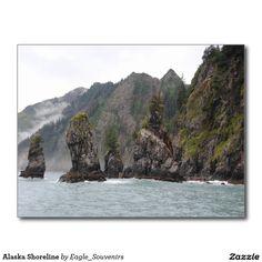 Alaska Shoreline Postcard   #alaska, #shoreline, #nature, #ocean, #sea, #forest, #mountains, #wilderness, #usa, #america, #fog #postcard
