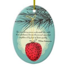 Strawberry fruit culinary Christmas ornament - diy cyo customize personalize design