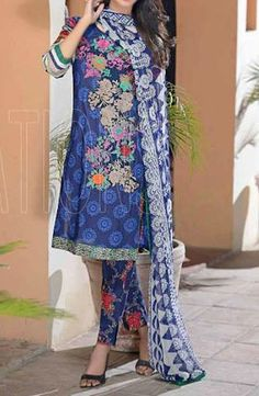 Buy Blue Embroidered Cotton Lawn Dress by Combinations 2016