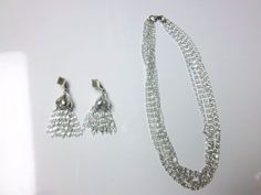 SARAH COVENTRY SILVER TONE TASSEL EARRINGS AND MATCHING NECKLACE  #SarahCoventry #DANGLE