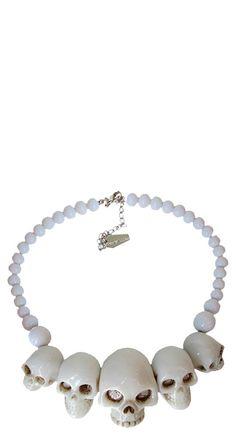 Kreepsville 666 Skull Collection Necklace in White   Blame Betty