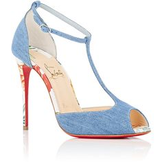 Christian Louboutin Women's Denim Senora T-Strap Pumps ($895) ❤ liked on Polyvore featuring shoes, pumps, peep toe pumps, blue shoes, stiletto pumps, blue high heel shoes and high heel shoes