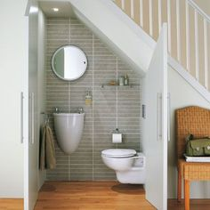 This is the plan for the bathroom under the stairs. Just need to fit in a shower and think of somewhere to hang towels (not the floor, boys) and we're laughing.