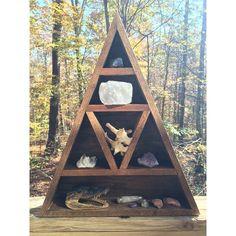 Wooden Triangle Altar // Wooden Shelf // Handmade Display // Crystal Stand // Crystal Display