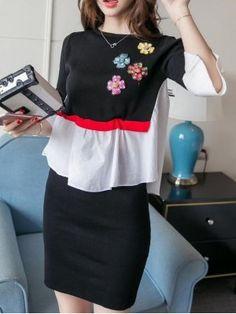Autumn package hip sweater splice skirt a set Tube Dress, Two Piece Dress, Every Girl, Short Skirts, Denim Skirt, Strapless Dress, High Neck Dress, Autumn, Elegant