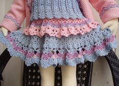 Crochet Skirt Pattern Pink and Blue lace for by PdfPatternDesign
