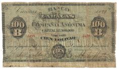 BANCO CARACAS 100 BOLIVAR - 1899  According to a leading Venezuela collector this is only one of 3 known to be issued. HIGHLY rare and original. Note grades good with repairs on reverse. One of the rarest notes we've seen from Venezuela. See image.