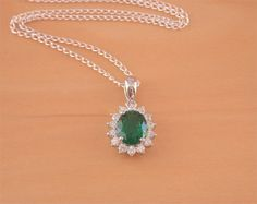 925 Emerald Lab created Pendant & 18 by joannasjewellerycouk