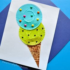 Cupcake Liner Ice Cream Cone Kids Craft is part of Summer crafts For Toddlers - Fun cupcake liner ice cream cone kids craft perfect for a summer craft for kids, summer kids craft, preschool craft and cupcake liner crafts Summer Crafts For Kids, Summer Art, Spring Crafts, Projects For Kids, Art For Kids, Summer Kids, Summer Crafts For Preschoolers, Preschool Summer Crafts, Spring Art