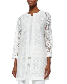 Damask Burnout Long Topper Jacket, Women's, Size: LARGE12-14, White - Neiman Marcus