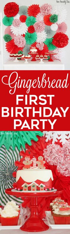 Gingerbread& first birthday party! Perfect for a December birthday! Two Twenty One Party Themes For Boys, Girl Birthday Themes, First Birthday Cakes, Girl First Birthday, Birthday Ideas, Girl Themes, Birthday Photos, Winter Birthday Parties, Christmas Birthday Party