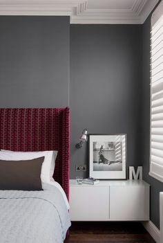 Gray Bedroom on Design Milk // Pantone-Valspar-Paint                       I love the crown moulding
