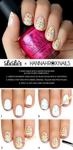 Neon Splatter Nail Tutorial via #Lulusblog #nailpolish #manicure #nailart - bellashoot.com