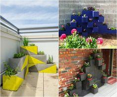 déco de jardin avec blocs béton et pots de fleurs
